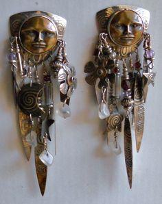 Tabra earrings, sterling, bronze and crystal