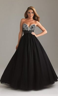 Black Sexy Strapless A-Line Tulle NM-6482 Ball Gown with Sequin Embellishment Bodice