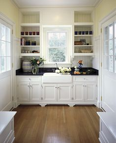 I'm not sure where the rest of the kitchen is,  but I do like this part! Symmetry and white cabinets, dark countertops