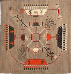 "Navajo ""sand painting"" rug, c. Navajo Art, Navajo Rugs, Native American Rugs, American Indians, Indian Rugs, Indian Art, Navajo Weaving, Art Ancien, Sand Painting"