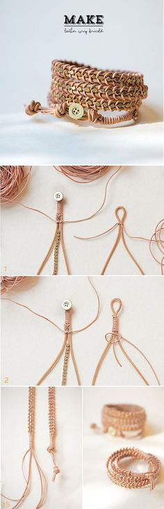 About the nice things: DIY: Pulsera de cuero y cuentas de metal