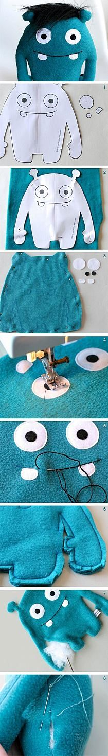 DIY sewing instructions for a cute monster made of plush, DIY toys / diy sewing tutorial for a cuddl Sewing For Kids, Diy For Kids, Felt Crafts, Kids Crafts, Sewing Crafts, Sewing Projects, Sewing Tutorials, Monster Dolls, Diy Couture