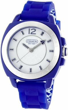 Coach Signature Boyfriend Silicon Rubber Blue Watch Gift Box Coach. $149.99. Quarts movement, mineral crystal. H: in x W: in x L: in. Gift Box. Color: Blue / Silver Hardware. Plastic case with silicon rubber strap - Water resistant up to 99 feet
