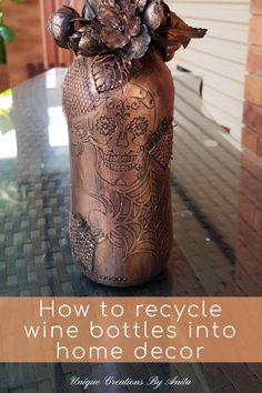 This tutorial will show you how to reuse those empty wine bottles instead of sending them to the landfill. You can decorate your bottles using common items you have around you home. Decals put on a bottle can get a whole new look once painted and highlighted using metallic wax paste. You can theme your bottles around special occasions like Halloween and christmas at a fraction of the cost. Empty Wine Bottles, Recycled Wine Bottles, Easy Crafts For Kids, Easy Diy Crafts, Cricut Vinyl Cutter, Copper Spray Paint, Stencil Vinyl, Halloween Bottles, Popular Paintings