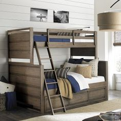 """Legacy Classic Kids Big Sky Twin Over Full Bunkbed has a casual and relaxed style with attention to detail that is a signature trait of the Wendy Bellissimo brand and what has made her a recognized style leader in family lifestyle products. Coastal mix of sun and sand with the feeling of an outdoor active lifestyle including rustic, weathered woods and natural textures combine for the quintessential """"Lifestyle"""" collection that's laid back, hip, and creates a comfortable vibe."""
