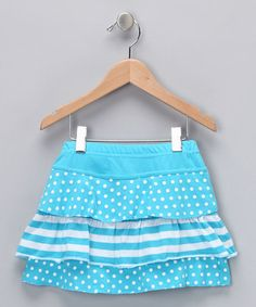 Turquoise Polka Dot Ruffle Skirt  by Sweet 'n' Petite Collection