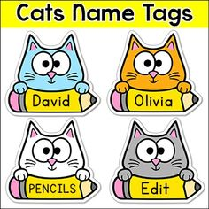 Cat name tags and locker labels fomy preescolar y escuela for Locker tag templates