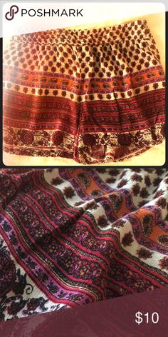 Angie Boho Shorts Very cute bohemian style shorts. Great for summertime!! ☀️ Colors include red, pink, orange and beige. Never worn. Angie Shorts