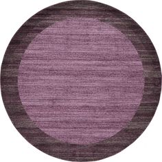 Unique Del Mar Beige/Cream Round Border Rug (8' x 8') (Purple), Size 8' x 8'