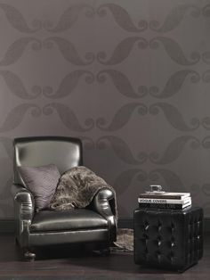 Sexy Wallpaper for the bachelor pad http://lelandswallpaper.com.  Club wallpaper collection by Eijffinger. Width: 20.5 in, Repeat: 25.2 in, unpasted, washable, strippable. Bold swirl motif with glitter inks. $100 per single roll