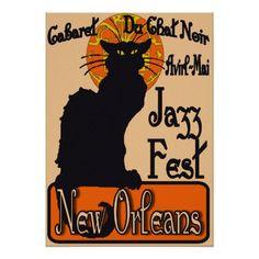 Jazz Fest, New Orleans, Chat Noir Poster