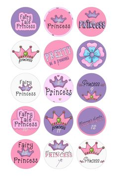 Princess Bottlecap Image Set I designed.  Available on finished bottlecaps which I make.