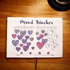 Do you track your mood? This is a great mood tracker for February. It's also extremely simple. Add the dates to the top of a two-page bullet journal spread. Then draw various hearts with lines to conn Bullet Journal Tracker, Bullet Journal And Diary, Bullet Journal 2019, Bullet Journal Spread, Diy Planner, Doodles, Mood Tracker, Journal Pages, Journal Inspiration