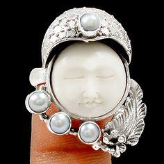 Face - Camel Bone & Pearl 925 Sterling Silver Ring Jewelry s.9 SR211000 | eBay