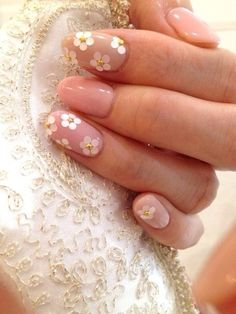 Daisy nails! Nude gel with hologram and gold accents