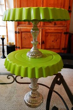Homemade cake stand- really good tips on making them out of dollar store finds and making them easy to store. Put some homemade cookies on it and you have a great gift!