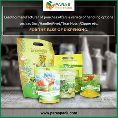 Paras Printpack offer several kinds of packaging pouch services like to stand up pouches, aluminium foil pouches, zip lock pouches, center sealed pouch and many more.