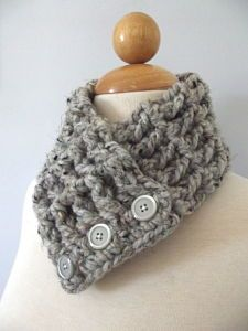 3 Button Crochet Winter Scarf - Gray Marble - 3 Sizes from Two Seaside Babes