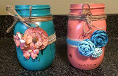 hand painted and decorated mason jars, crafts, mason jars, repurposing upcycling, shabby chic
