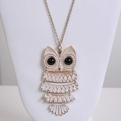 White/Gold Owl Necklace <3 :3