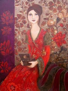 Make yourself a treasure box, fill it with memories. Woman Painting, Body Painting, Human Art, Shades Of Red, Beautiful Artwork, Woman Face, Figurative Art, Art Forms, Painting Inspiration