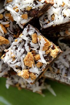 Coconut Crunch Fudge: 12 oz. semi-sweet chocolate (1 bag)- 6 oz. butterscotch chips (1/2 bag)- 1 can condensed milk- 1 Tbsp coconut extract- 1 Tbsp butter- 1/2 tsp salt- 1 1/2 c. toasted coconut- 1/2 c. Graham Crackers...