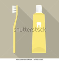 Flat Design Vector Illustration of a Yellow Toothbrush and a Toothpaste. - stock vector