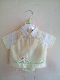 Vintage Pastel Yellow 2 Piece Baby Boy by rockpapermagic on Etsy, $18.00