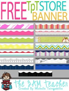 FREE TpT Store Banner Backgrounds (760px by 120px) by The 3AM Teacher!