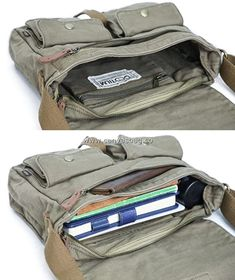 Canvas Messenger Bag, Crossbody Shoulder Bag, Army Green, Cotton Canvas, Satchel, Purses, Bags, Fashion, Handbags