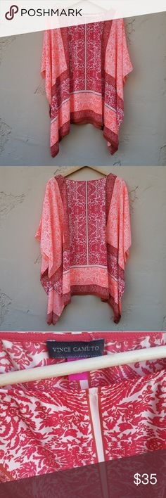 97e66cdba49b5 Vince Camuto Pink Oversized Poncho Top Size XS Floral hot pink poncho Note   color may be slightly different in person Note  VERY oversized Vince Camuto  Tops ...