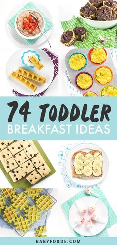 These 74 Toddler Breakfast Ideas are the perfect healthy and easy recipes you need for busy weekday mornings! All of these recipes can be made once and served throughout the week, made in 5 minutes or freezer-friendly! Great for toddlers, kids and you! Healthy Toddler Meals, Healthy Breakfast Recipes, Kids Meals, Easy Meals, Toddler Food, Healthy Meals, Easy Toddler Snacks, Healthy Eating, Healthy Breakfasts