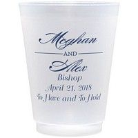 16 Ounce frosted shatterproof cups personalizes with name monogram design, simple letter style & navy imprint color