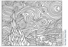 Van Gogh Starry Night - famous art coloring pages! Colouring Pages, Coloring Pages For Kids, Coloring Sheets, Coloring Books, Free Coloring, Kids Colouring, Arte Elemental, Arte Van Gogh, Famous Artwork