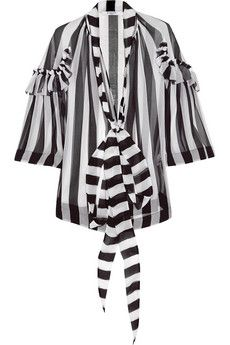 Givenchy Blouse in black and white striped silk-chiffon | NET-A-PORTER