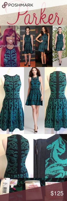 "👗NWT Parker Kiley Teal Printed Knit A-Line Dress❤ NWT Parker 'Kiley' Printed Knit FitnFlare A-Line Dress💕 Bought for $297 @ Nordstrom, but never wore it😬   As seen on celebs: Michelle Trachtenberg, Elizabeth Henstridge & Odette Yustman Annable, Kandi Burruss (RHOA)❤  Sporty tank-style fit-n-flare silhouette, heavy stretch knit in 'everglade' rich green-blue teal & black ornate scroll pattern.  Measures: L neck2hem: 37"", C:18"", W:15"", H:18.5""  Bundle for discount! Please ask Qs before…"