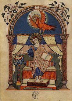 Iluminura, Evangelho Lorsch, ( 780-820) Período de Carlos Magno Pintura em pergaminho Biblioteca do Vaticano