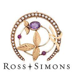 C. 1950 Vintage 2.20ct Amethyst, .40ct t.w. Ruby Horseshoe Pin Pendant, Seed Pearls. Pin vintage ruby pendant