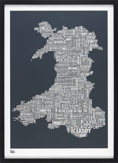 Wales Type Map in sheer slate by Bold & Noble