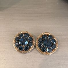 Vintage Weiss Blue Gold Jeweled Earrings Clip on. Great condition. Weiss Jewelry Earrings