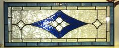 Bevels and Blue Stained Glass Transom (TW-11). $295.00, via Etsy.
