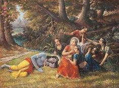 Gopis Play Prank on Krishna by Prasanta Dasa Krishna Lila, Bal Krishna, Shree Krishna, Krishna Art, Radhe Krishna, Radha Krishna Quotes, Radha Krishna Pictures, Radha Krishna Photo, Krishna Photos