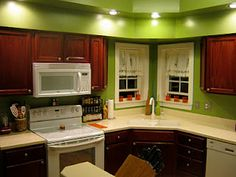 DIY Stained Kitchen Cabinets