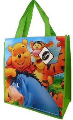 Disney Winnie the Pooh Tote Bag (with Tiger and Eeyore) - 13 X 14 X 6 Inches by Disney. $6.95. Colorful Disney Winnie the Pooh Tote Bag featuring  Tiger and Eeyore! Large sturdy bag measures  13 X 14 X 6 inches. Be original - use these as Gift Bags, instead of the paper ones that will be thrown away.  Multiple uses - can be used for storage, party favors, gift bags, closet organizers, grocery bags, etc.