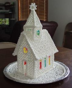 County Fair Icing Church: Came across the pattern and instructions for the Icing Church on the internet a year ago and finally got around to making it.  Entered it in the county