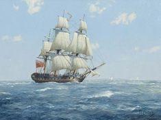 Nelson's Albemarle, Frigate, ex Menagere (Derek Gardner) Old Sailing Ships, Sailing Boat, Bateau Pirate, Nautical Art, Nautical Painting, Ship Drawing, Man Of War, Ship Paintings, Naval History
