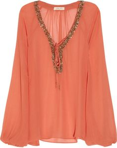 Chelsea Flower Embellished georgette blouse - Polyvore
