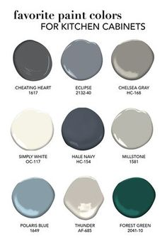 Favorite Paint Colors for Kitchen Cabinets - Alice and Lois - Our favorite cabinet paint colors. Informations About Favorite Paint Colors for Kitc - Kitchen Paint Colors, Interior Paint Colors, Paint Colors For Home, Colors For Kitchens, Paint Colors For Cabinets, Interior Design, Grey Kitchen Cabinets, Kitchen Cabinet Refacing, Colorful Kitchen Cabinets