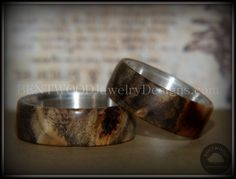 "Bentwood Ring Set - ""Midwest"" Buckeye Burl on Silver Core Classic Wood Ring Bands"