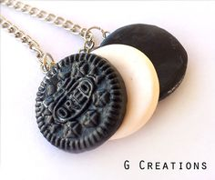 Oreo Inspired Best Friends Necklace - Set of 3 - Realistic Food Miniature Jewelry - Handmdade Sweet Cookie Polymer Clay Necklace - Cute Gift on Wanelo